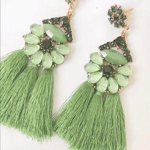 Green Tassel Earrings